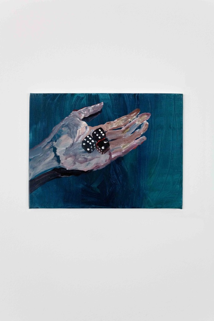 Eva Raeder hand with dice, 2007, 30x40cm, mixed media on canvas Kopie