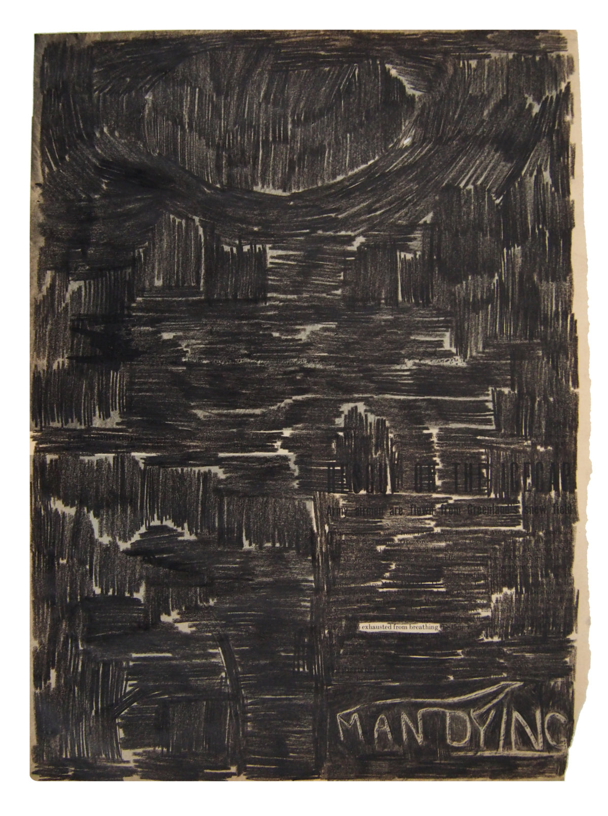 Guy Vording, Black Pages, Man dying, 2017